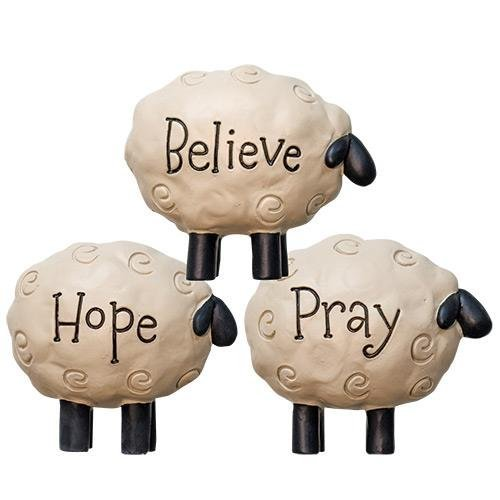 Believe, Hope, Pray Sheep Figurine Set of 3 Inspirational Country Home Decor & Gift