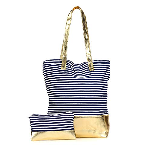 (Canvas Striped Tote Bag With Gold Foil Block Bottom (Navy))