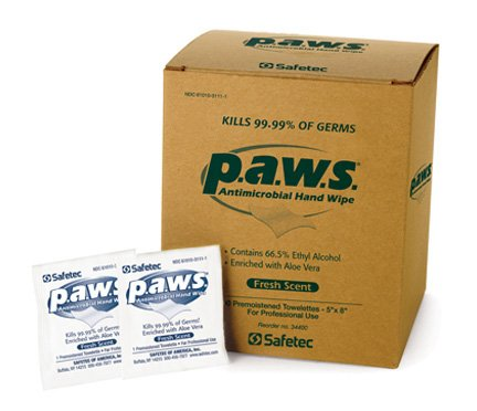 Wipes Antimicrobial Hand Sanitizer (#34400 Safetec p.a.w.s. Antimicrobial Hand Wipes (100 pouches per box / 10 boxes per case))