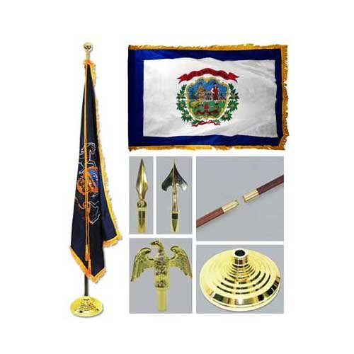 Super Tough West Virginia 3ft x 5ft Flag Flagpole Base and Tassel