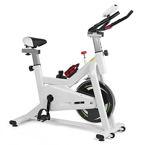 Homgrace Indoor Cycling Training Exercise Bike, Cycle bike, Stationary Bike, 33lb Flywheel with Adjustable Friction Resistance (white 1)