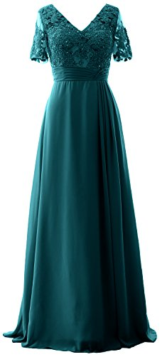 MACloth Long Formal Evening Gown Lace Short Sleeves Mother of The Bride Dress (24w, Teal Green)