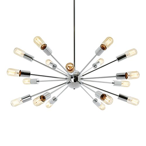 18-Light Sputnik Chandelier Chrome - Hanging Oval Ceiling Pendant Light, Modern Fixture, ETL - Williamsburg Light 16