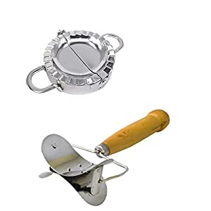 Dolloress Dumpling Makers Set Including Rolling Pastry Cutter+Dumpling Mould(Small+Large) for Kitchen[Wooden Handles]