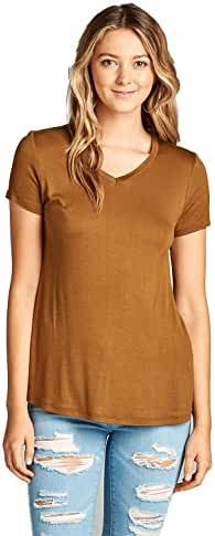 Emmalise Women's Comfy Soft Flowy Tee Shirt Short Sleeves VNeck Tee Top
