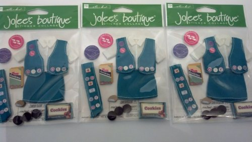 Her Scouting Girl Scout Uniform and Cookies Dimensional Scrapbook Stickers (SPJB098) Set of 3