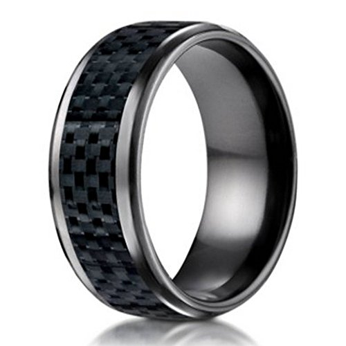 Benchmark Black Titanium Wedding Ring with Carbon Fiber Inlay   8mm Size 9.5 by Mens-Wedding-Rings