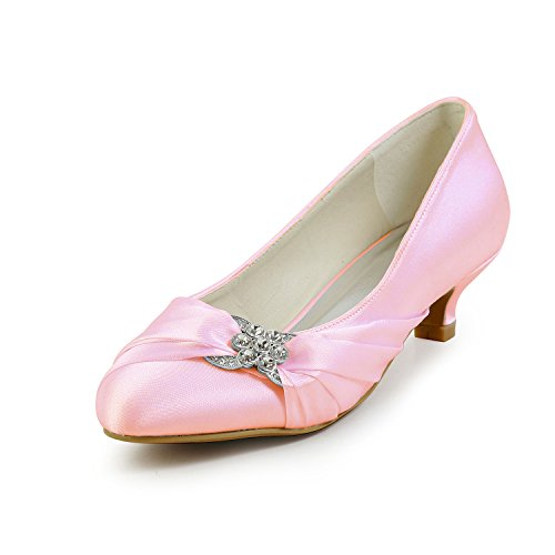 JIA De Soirée Chaussures Chaussures Bas Pompes JIA Bout Mariage 0112A Mariage Satin Rose Fermé Talon De Bal Wommen r4xrAgq6w