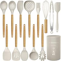 14 Pcs Silicone Cooking Utensils Kitchen Utensil Set, 446°F Heat Resistant,Turner Tongs,Spatula,Spoon,Brush,Whisk. Wooden...