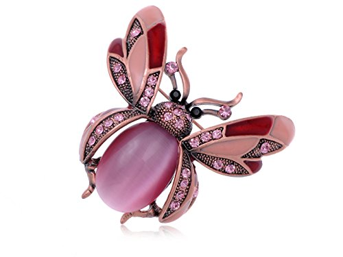 Alilang Copper Tone Light Rose Colored Rhinestones Ladybug Fly Insect Brooch Pin