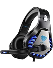 BUTFULAKE Stereo Gaming Headset for PS4 Xbox One Nintendo Switch, Noise Cancelling 3.5mm Wired Adjustable Over-Ear with Mic, Volume Control and LED Lights for Laptop PC Mac iPad Smartphones