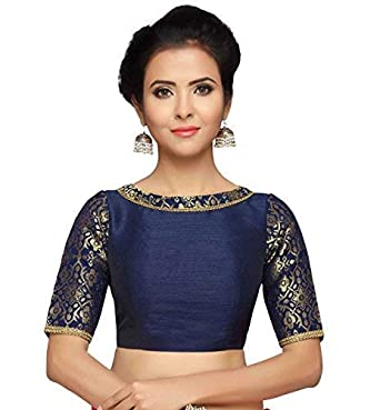 bca75a35628cc7 Studio Shringaar Women's Brocade and Silk Readymade Saree Blouse with Boat  Neck and Elbow Length Sleeves