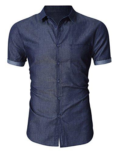 MrWonder Men's Casual Slim Fit Button Down Shirt Short Sleeve Denim Shirts Dark Blue M