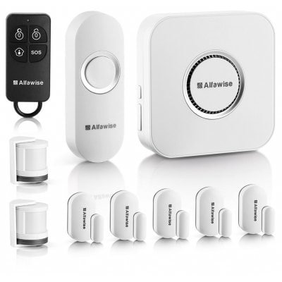 Alfawise Wireless Home Security Alarm System ,2.4 G WiFi Alexa Compatible ,2 in 1 PIR Motion Sensor,Main Panel,5 Modes Control Burglar Alert ,1 Doorbell Button,Control by Smartphone by Alfawise