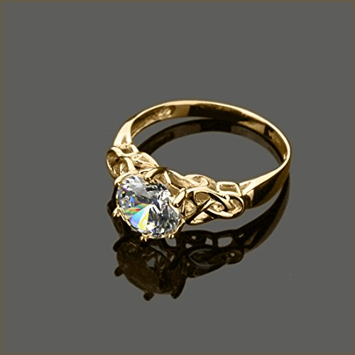 14K Yellow Or White Gold 1.25 Carat Round CZ Celtic Love Knot Wedding Engagement Ring by Double Accent Wedding Collection (Image #1)