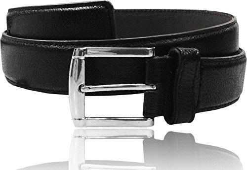 LUNA Women's Thick Wide Dress Grain Leather Stitched Belt - Black - Medium (34-36