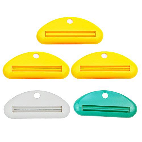 Sohapy 5 Pack Mixed Color Toothpaste Tube Squeezer Dispenser, Toothpaste Holder Rolling Bathroom Extract