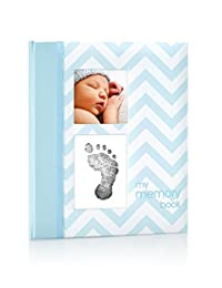 Pearhead Chevron Baby Memory Book with an Included Clean-Touch Ink Pad to Create Baby's Handprint or Footprint, Blue BOBEBE Online Baby Store From New York to Miami and Los Angeles