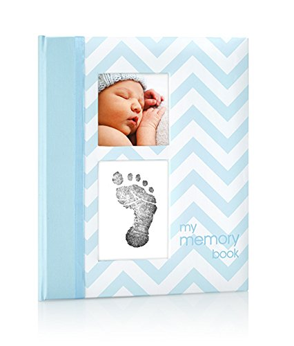 Pearhead Chevron Baby Memory Book with an Included Clean-Touch Ink Pad to Create Baby's Handprint or Footprint, Blue