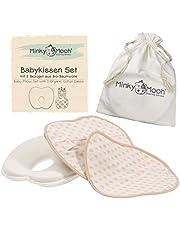 Ergonomisches Babykissen Set gegen Plattkopf aus BIO-Baumwolle | Inkl. 2 waschbaren Kissenbezüge | Extraweiche Memory Foam Polsterung für Baby + Neugeborene | Oeko-Tex zertifiziert