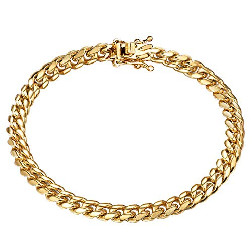 Jewelry Kingdom 1 Mens Bracelet 18K Gold Chain Cuban Link Chain for Men's Jewelry, Bracelets for Women, Top 316L Stainless Steel(9inches Length, 6MM Width Bracelet)