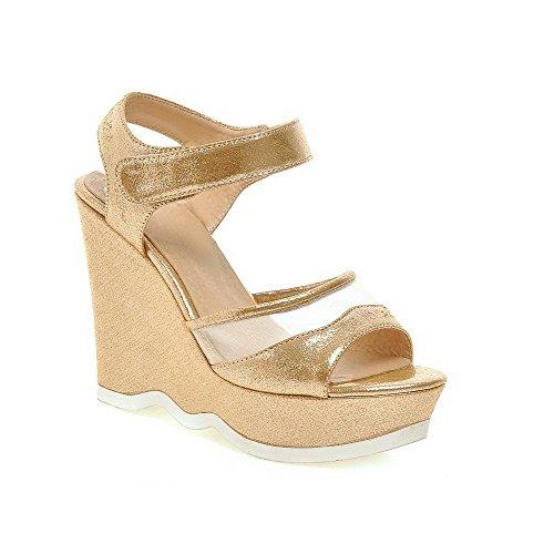 AllhqFashion Mujeres Puntera Abierta Plataforma Sólido Velcro Sandalia Gold