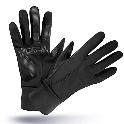 Winter Gloves Thermal Glove with Touch Screen Fingers Windproof Water Resistant for Running/Cycling/Driving/Snow Skiing/Ice Fishing in Cold Weather for Men and Women (Large, Black) (Men Gloves)