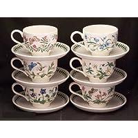 Portmeirion 植物花园传统型早餐杯和碟子,6 件套各式图案