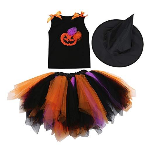 Halloween Skirt Set for Kids Girl, 3PCS Baby Girl Pumpkin Print Asymmetrical Dress+ Tops+ Hat Clothes Set (160, Orange) by Xchenda (Image #1)