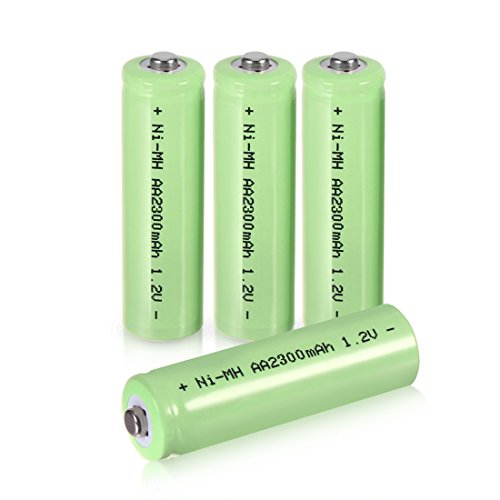 uxcell 4 Pcs 1.2V 2300mAh AA Ni-MH Battery Rechargeable Batteries Button Top LED Torch Flashlight Headlamp ()