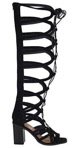 Bexley30 Spartiates Noir Bottes Haut Chaussures Genou Truffe Moulantes Femmes 80wqxS8