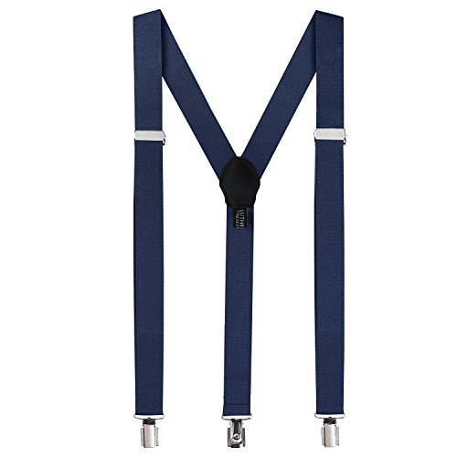 Suspenders for Men: Button Mens Adult Pant Braces with Elastic, Y Back Design - Mario Luigi Costume, Navy Blue -