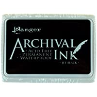 Ranger Archival Ink Pad, Jet Black – Permanent, Waterproof, Acid-Free, Non-Toxic – Won't Bleed or Smudge – Provides Vivid and Crisp Stamping Results – Air Dry on Matte and Heat Set on Glossy Surfaces