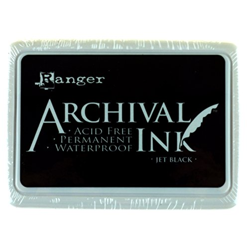 Ranger Archival Ink Pad, Jet Black - Permanent, Waterproof, Acid-Free, Non-Toxic - Won't Bleed or Smudge - Provides Vivid and Crisp Stamping Results - Air Dry on Matte and Heat Set on Glossy Surfaces]()