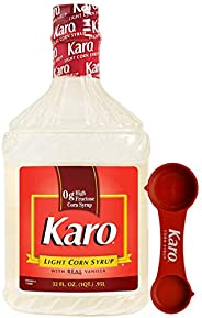 Karo - Light Corn Syrup with Real Vanilla, 32 Ounce Bottle - Includes Karo Measuring Spoon