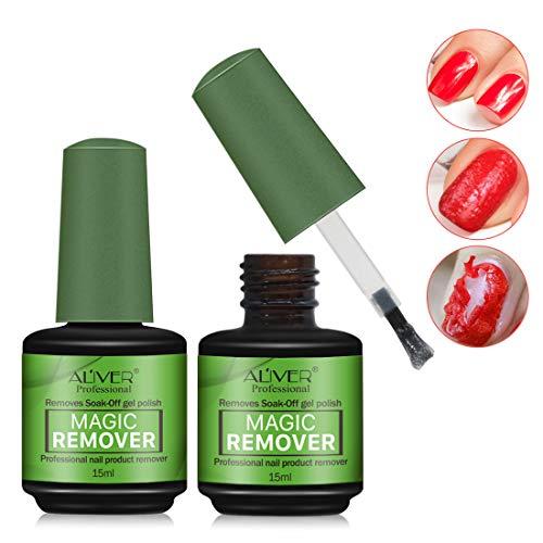 2 Pack Magic Nail Polish Remover,Quick Professional Removes Soak-Off Nail Polish in 3 Minutes for Natural,Gel,Acrylic,Sculptured Nails,Not Hurt Nails (Removal Of Gel Nail Polish On Natural Nails)