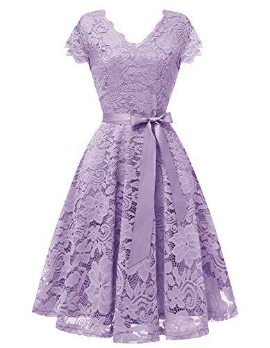Vinvv Women's Short Vintage Lace Dress Cap Sleeve Bridesmaid Party Swing Dress Lavender -