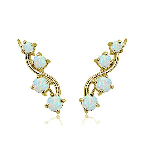 Gold Flash Sterling Silver Simulated White Opal Vine Climber Crawler Earrings for Women
