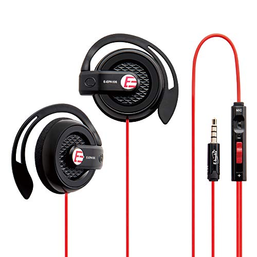 S39 Sport Gaming Slim Clip-On Earphones Headphones Headset with Over-Ear Hooks for Apple iPhone iPod iPad Samsung Android Smartphones Computer Tablet Laptop Travel Boys Girls Child – Red Black