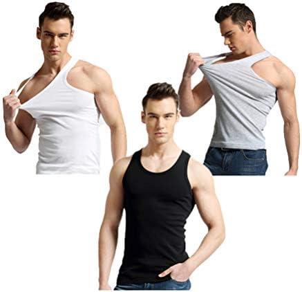 3ピースメンズコットンタンクトップ男性のパジャマ背心 (白黒灰, L)
