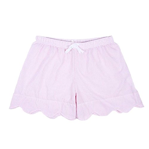 MONOBLANKS Women Seersucker Scallop Lounge Shorts Can be Personalized Monogrammed (M, Pink)