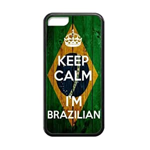 Slim And Stylish Keep Calm I'm Brazilian Wood Brazilian Flag Pattern Pattern iPhone 5C TPU(Laser Technology) Case Cover for White And Black