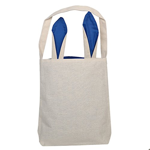 OULII Easter Bags Baskets Bunny Ear Bag Easter Gift Bag DIY Easter Eggs Packing Dual Layer Jute Tote Bag Party Favor (Blue)