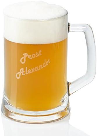 Weihnachten oder zum Vatertag personalisiertes Bier Geschenk f/ür M/änner zum Geburtstag Bierkrug aus Glas mit Personalisierung Leonardo Bierseidel mit Gravur 0,5 l
