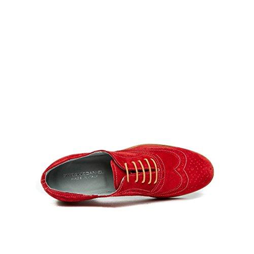 Cordones Rojo de de Para Mujer Zapatos Daniel Oxford Piel Frank Rojo wvqI6fxx