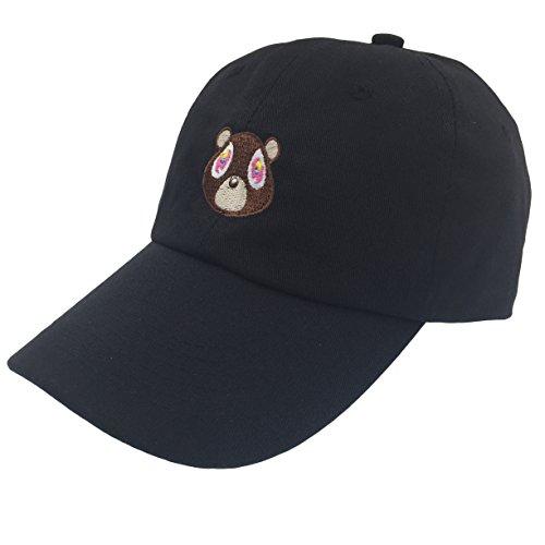 Kanye West Costume (Kanye West Bear Hat Dad Hat Strap Back Costume Head Men Women New (Black Hat))