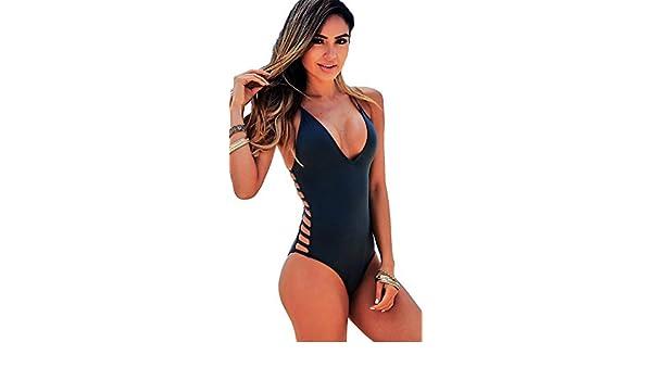 96c6c38247 Chynna Dolls Peony Deep V Strappy Cut Out Sides One Piece Black Swimwear:  Amazon.ca: Clothing & Accessories