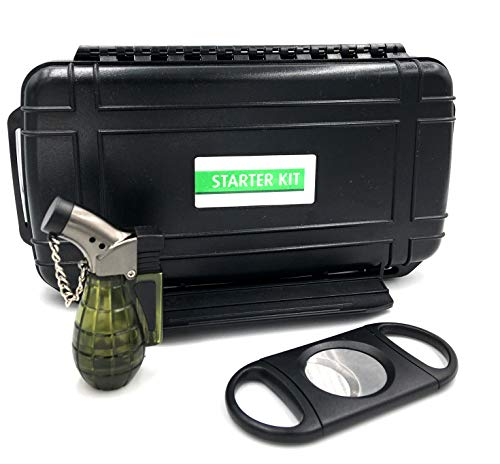 LuxmeCo All American Cigar Starter Kit Travel Humidor Lighter Cutter Cigar Gift Set Includes 80R Dual Action Cutter and Bomber Lighter