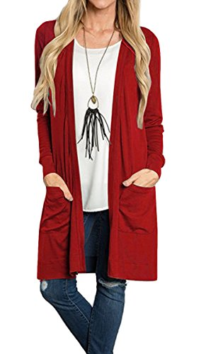 Tribear Women's Long Sleeve Open Front Loose Causal Lightweight Kimono Cardigan(Red,Large)