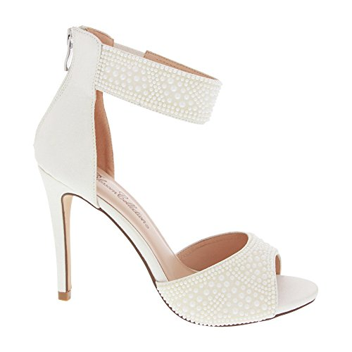 Womens Shimmer Heeled Sandal With Faux-Pearl Applique (9, White)